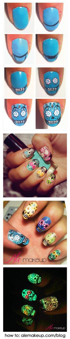 Tutorial manicura uñas mexicanas calaveras de colores fluor que brillan en la oscuridad. visita alemakeup.com/blog para saber más Nail tutorial manicure mexican sugarskull glow in the dark. visit alemakeup.com/blog to see more.
