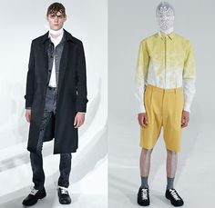 Kenneth Ning 2016 Spring Summer Mens Lookbook Presentation - New York Fashion Week Mens - Denim Jeans Outerwear Trench Coat Parka Suit Double-Breasted Pants Trousers Vest Waistcoat Camouflage Jungle Military Necktie Stripes Blazershirt Shorts Head Wrap Mesh Lace Sleeveless