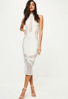 White Bandage & Lace Midi Dress - Missguided