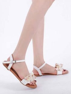 Our stylish Flat sandals easily match most of your summer outfits for a chic and elegant look.  ✔ Worldwide Free Shipping ✔ Get flat 10% Off on Summer Sale: Apply Coupon Code: summer2020  #Flat #Flowers #Chic #OpenToe #Sandals #PU #StreetWear #Modern #goodvibes Open Toe Sandals, Flat Sandals, Fashion Colours, Flower Fashion, Fashion Flats, White Shoes, Summer Sale, Types Of Shoes, Women's Shoes