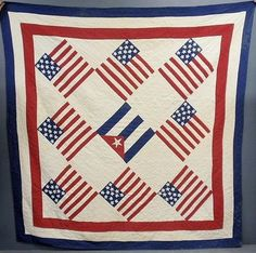 American flag applique quilt with Cuban flag, probably commemorating end of Span-Amer. War, x Wiederseim Assoc. Old Quilts, Antique Quilts, American Flag Quilt, The Spanish American War, I Love America, Patriotic Quilts, Hand Applique, National Flag, Quilt Blocks