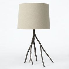 West Elm Branch Table Lamp - Blackened Metal, $199. DIY idea: use a fully dried tree branch, spray paint or gold leafing. Birch meets bling!