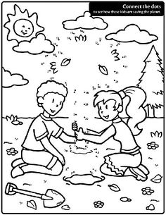 Connect the dots on this Earth day coloring page to see what they're planting!
