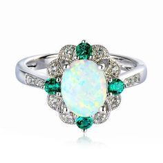 Lab-Created Opal, Emerald & White Sapphire in Sterling Silver