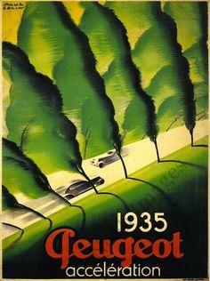 Peugeot vintage auto poster repro 24x36
