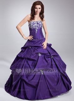 Ball-Gown Strapless Floor-Length Taffeta Quinceanera Dress With Ruffle Beading Appliques Lace Sequins (021020747) - JJsHouse