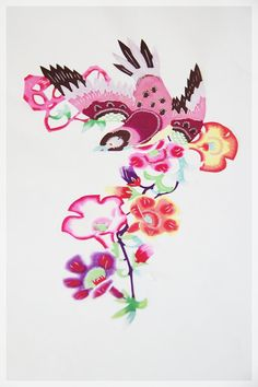 Handmade Chinese Paper Cutting - Magpie & Flowers