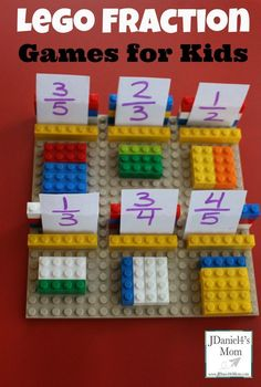 Lego fraction games for kids- fractions completed proje лего математика, др Fraction Games For Kids, Math For Kids, Fraction Activities, Fraction Art, Lego Activities, Math Resources, 1st Grade Activities, Maths Games Ks2, Third Grade Math