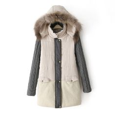 2016 Women's Warm Fur Hooded Long Padded Down Winter Coat 2 Colors S-2XL