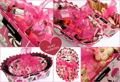 Deep Dish Candy/Gift Baskets, shown in valentines day theme but any holiday or just because fabric will work.