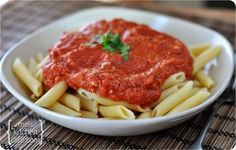 Red Brie Pasta Sauce...a sauce that simmers for less than 10 min. and cheese is added. Serve over pasta of choice!