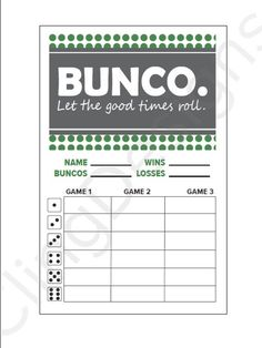 Pin Bunco Score Sheet Template This Is Your Indexhtml Page Cake on ...