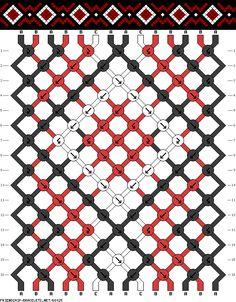 Friendship bracelet pattern - simple - Diamonds, square, dots - 14 strings - 3 colors