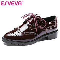 ESVEVA 2017 Women Pumps Genuine Leather Square Low Heel Lace Up Rivets Casual Shoes Pointed Toe Autumn Ladies Shoes Size 34-39 | $ 113.26 | Item is FREE Shipping Worldwide! | Damialeon | Check out our website www.damialeon.com for the latest SS17 collections at the lowest prices than the high street | FREE Shipping Worldwide for all items! | Get it here…