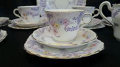 Colclough Vintage Tea set Purple flowers Art Deco English 20 pieces