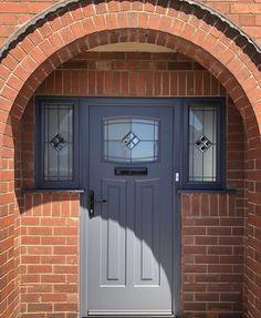 Grey Composite Front Door, Grey Front Doors, Front Doors With Windows, Front Door Entrance, Exterior Front Doors, House Front Door, Front Door Colors, House Doors, Pvc Windows