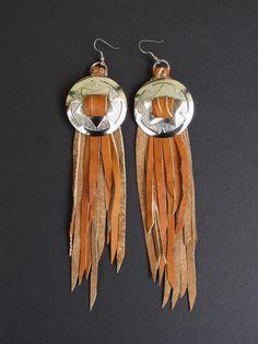 Concho earrings. Fringe earrings. Leather fringe earrings. Biker fringe. Motorcycle fringe. Silver conchos. Western conchos. Fringe jewelry