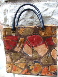1970s Cut Velvet Large Handbag in Autumn Colors