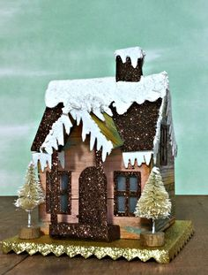 MichelleTim Holtz Village Dwelling Winter Cabin Glitter Putz house for Simon Says Stamp