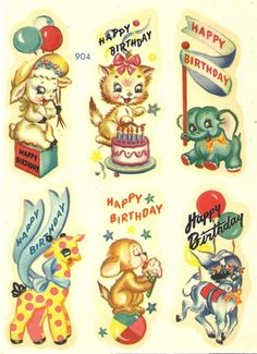 1940s Meyercord Birthday Animals Decals SalesByTheSeaShore 7 available @ 3.50 each