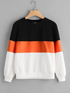 Cut And Sew Sweatshirt -SheIn(Sheinside) Sweatshirt Outfit, Sweatshirt Refashion, Hoodie Sweatshirts, Fashion Sweatshirts, Tumblr Sweatshirts, Sweatshirts Online, Girls Fashion Clothes, Fashion Outfits, Womens Fashion