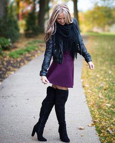 These @justfabonline boots were made for twirling in plum skater skirts! #justfab @photosbyrachel1 #styleblogger #lotd #fashion #ootdfash #style #fashionblogger #currentlywearing #lookbook #instafashion #fallfashion