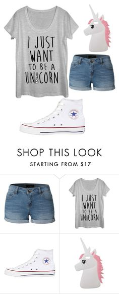 """""""Just want to be a unicorn"""" by owlsarelifeheart ❤ liked on Polyvore featuring LE3NO, Fifth Sun, Converse, Miss Selfridge, Summer, cute and Yasqueen"""