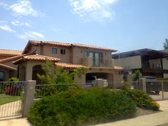 Spanish-style houses as we approach San Diego