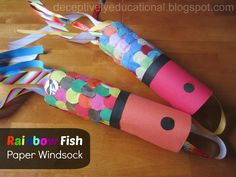 Relentlessly Fun, Deceptively Educational: Rainbow Fish Paper Windsock
