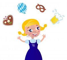 Cute Blond Hair Woman in Octoberfest costume. Vector cartoon Illustration.