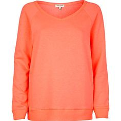 River Island Womens Fluro Orange V neck sweatshirt T Shirt Vest, Sweater Hoodie, Going Out Tops, River Island Womens, Summer Tops, Hoodies, Sweatshirts, Coral, V Neck