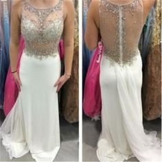 White Chiffon Top See-Through Sparkly Form Prom Dress , Evening Dress