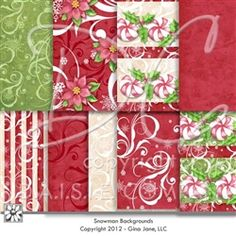 Digital Christmas Backgrounds - Designed to match Gina Jane's Christmas sets including-  Snowman 1, Snowman 2, Snow Family,  Christmas Bears and more! Backgrounds with swirls, peppermint, holly, flourishes in red, green and white, solids, textures and stripes. Lovely poinsettia background for Christmas lay outs, crafts and cardmaking
