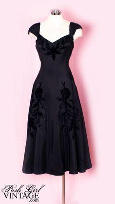 1940's Black Velvet Roses Evening Dress