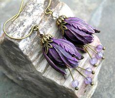 Vintage Style Purple Bellflower & Amethyst Gemstone Earrings $28