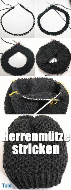 Knit men's hat with circular knitting needle - Instructions for beginners : Ins. Knit men's hat with circular knitting needle – Instructions for beginners : Instructions – K Crochet Gloves Pattern, Poncho Knitting Patterns, Knitting Socks, Crochet Hats, Knitted Hats, Crochet Patterns, Hat Patterns, Crochet Stitches, Knit Hat For Men