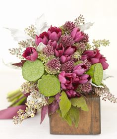 Purple Tulips The hearty hydrangea can fill up a bouquet quick. Add in a mix of other blooms and natural elements like roses, lilacs, eucalyptus, and fern fronds, to cast an antique autumn feel. Bouquet by Nicolette Camille Tulip Wedding, Wedding Reception Flowers, Purple Wedding Flowers, Flower Bouquet Wedding, Beautiful Flowers, Bridal Bouquets, Woodsy Wedding, Wedding Colors, Beautiful Flower Arrangements