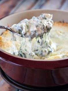 Lighter Spinach Artichoke Dip from RecipeGirl.com