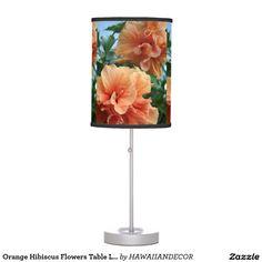 Orange Hibiscus Flowers Table Lamp