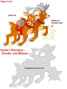 FREE Printabe Santa's Sleigh and Reindeer Decoration for Christmas