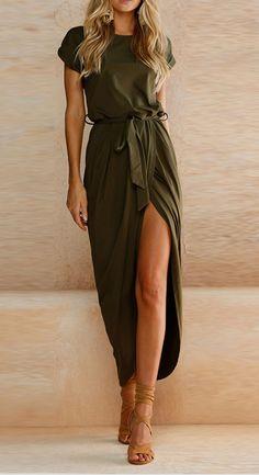 Short Sleeve High Slit Solid Maxi Dress with Belt