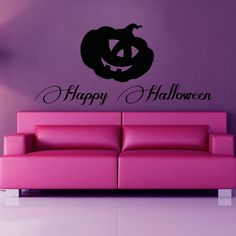 Shop for Happy Halloween Pumpkin Holiday Vinyl Sticker Wall Art. Get free delivery On EVERYTHING* Overstock - Your Online Art Gallery Shop! Happy Halloween, Halloween Wall Decor, Halloween Pumpkins, Halloween Party, Playroom Decor, Baby Room Decor, Vinyl Art, Vinyl Wall Decals, Dorm Art