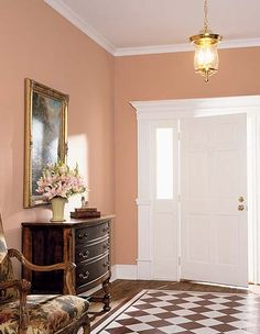 Martin Senour Paints, cloudy peach--elegant! This makes me think of Benjamin Moore 'Serendipity.'