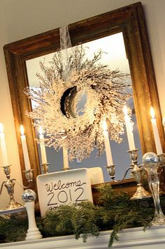 New Year's mantel decor - I LOVE the idea of changing the decor for EVERY holiday!!  Fun idea to keep things from getting hum-drum!