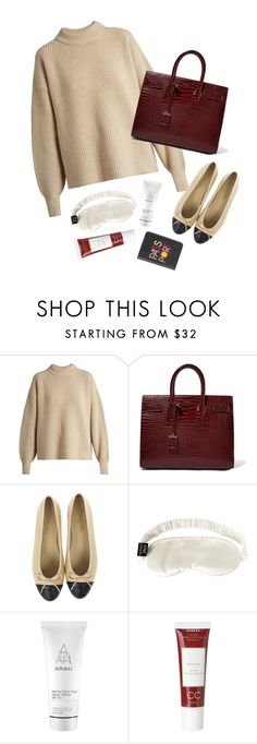 """""""Travel kit #17"""" by xoxomuty ❤ liked on Polyvore featuring The Row, Yves Saint Laurent, Slip, Alpha-H, Korres and Lizzie Fortunato"""