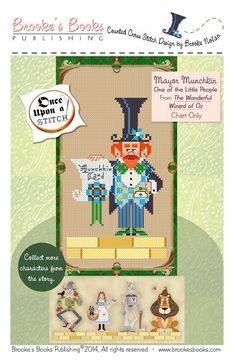 Brooke's Books Once Upon A Stitch Mayor Munchkin From The Wonderful Wizard of Oz Cross Stitch Chart Only HARD COPY