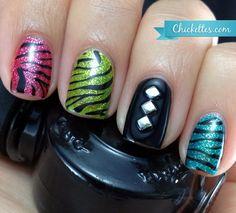 Colorful Zebra Print Nails