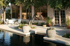 black bottom pool beautiful pool and backyard by Boxhill Design Black Bottom Pools, Beautiful Pools, Backyard, Patio, Outdoor Living, Outdoor Decor, Seashells, Heavenly, Interior And Exterior