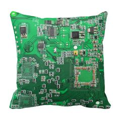 One of the easiest ways of refreshing your home décor is through the use of green throw pillows. Throw pillows have always been known to bring not only comfort but also for improving the appearance of any home Computer Geek Circuit Board - green Throw Pil Green Throw Pillows, Throw Pillow Cases, Geek Room, Geek Gadgets, Office Gadgets, Travel Gadgets, Electronics Gadgets, Technology Gadgets, Geek Decor