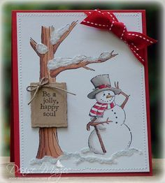 Be Jolly Christmas card. Poster Peanutbee added some Sugar Sparkly Fluff on all the snowy parts. The red bow is just perfect! holidays sign christmas Be Jolly _pb by peanutbee - Cards and Paper Crafts at Splitcoaststampers Homemade Christmas Cards, Christmas Cards To Make, Xmas Cards, Homemade Cards, Handmade Christmas, Holiday Cards, Christmas Crafts, Funny Christmas, Christmas Greetings